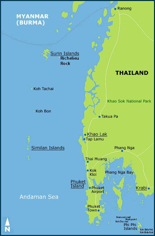 Karta Phuket.Thailand Diving In Phuket Phi Phi Similan Islands Andeman Sea